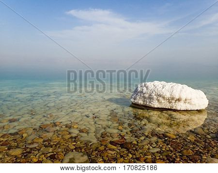 Salt formations at the edge of the Dead Sea in Israel.