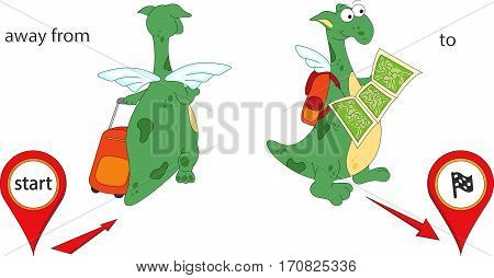 Cartoon Dragon Goes Away From The Start And Then To The Finish. English Grammar In Pictures