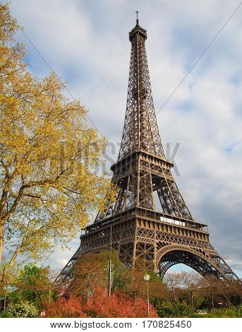 The Eiffel Tower on a sunny spring day in Paris France.