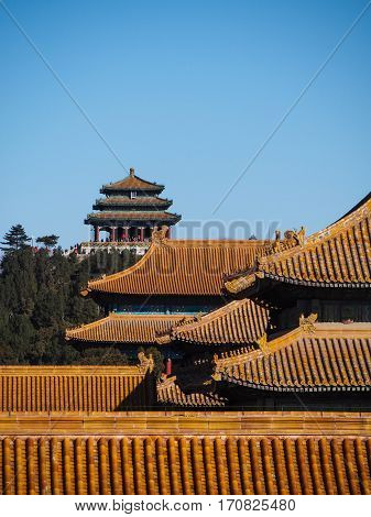 Bright orange tiled rooftops of the Forbidden Palace in downtown Beijing China stand out against a blue sky.