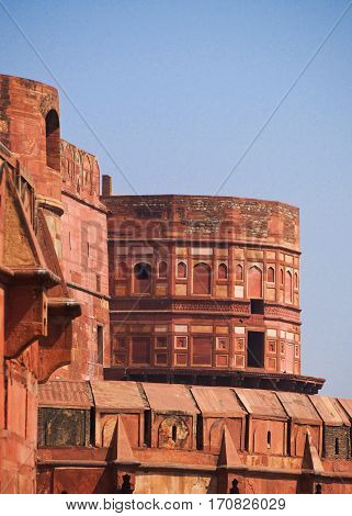 A detail of the historic Red Fort in downtown Delhi India.