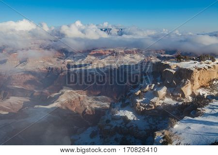 the scenic landscape of the south rim grand canyon in winter