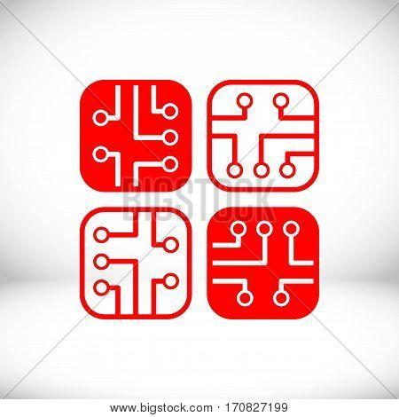 circuit board icon stock vector illustration flat design