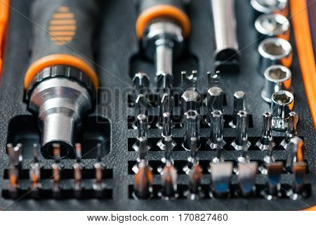 Pocket precision screwdriver set in box close-up