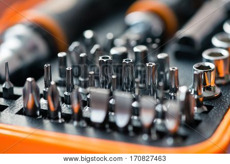 Pocket precision screwdriver set in box macro