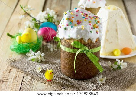 Easter Background. Traditional Food On The Holiday Table - Breads With Homemade Raisin, Cottage Chee