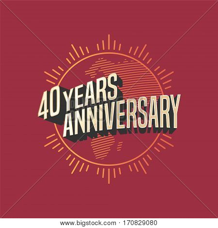 40 years anniversary vector icon, logo. Graphic design element for decoration for 40th anniversary card