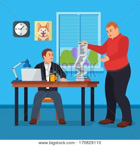 Hard Working man in office banner in flat style.Business situation. People in action. Computer table books clock. Stock design elements. Time management and workflow management. Vector illustration
