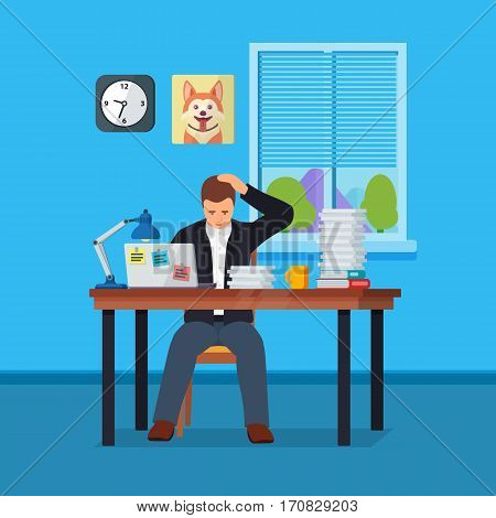 Worker character doing hard work. Business situation. Hard Working man in office banner in flat style. People in action. The manager works in an office with a window. More paperwork illustration