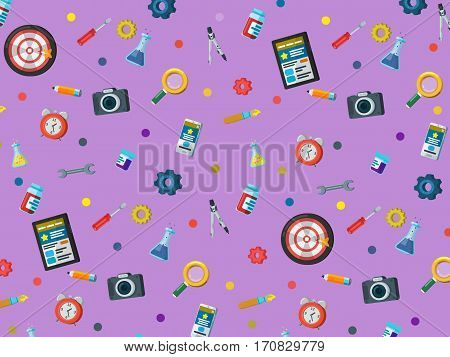 A set of elements on a blue background. Web site development pattern in flat style. Web design web development and SEO. Background for website or advertising creative agency. Vector illustration
