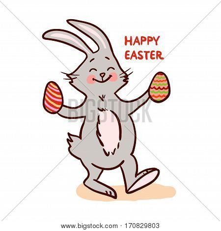 Easter bunny isolated on white background. Vector illustration.