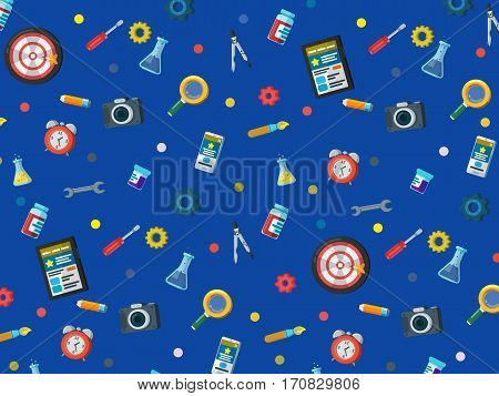 A set of elements on a dark blue background. Web site development background in flat style. Web design web development and SEO. Background for website or advertising creative agency.