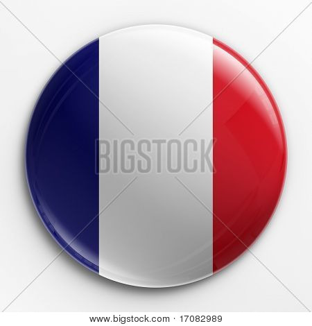 3d rendering of a badge with the French flag