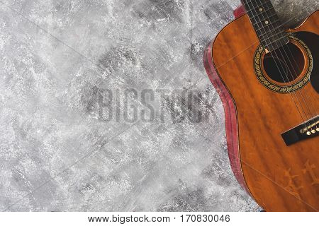 Top view of Guitar on grunge background Free space for text