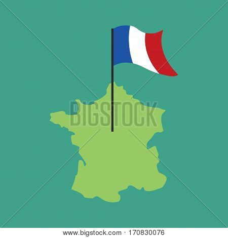France Map And Flag. French Banner And Land Area. State Patriotic Sign