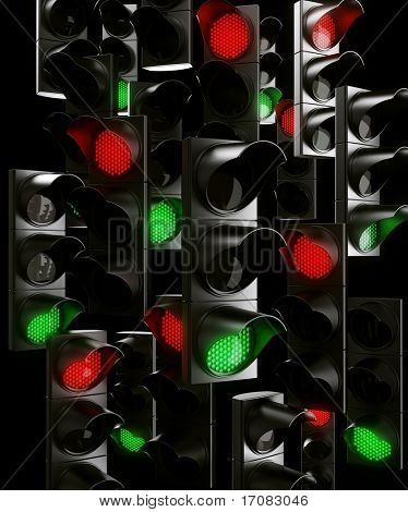 3d rendering of traffic light chaos