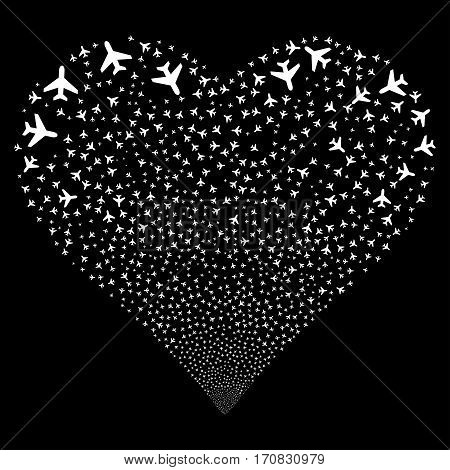 Air Plane fireworks with heart shape. Vector illustration style is flat white iconic symbols on a black background. Object heart combined from scattered design elements.
