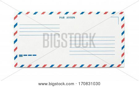 Blank airmail envelope isolated with place for text, front view