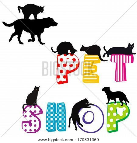 Pet shop poster with silhouettes of dog and cats