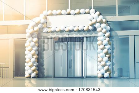 New business centre opening mockup celebration at the entry 3d rendering. Blank signage banner under store entrance balloons decorated supermarket exterior. Grand opened mall