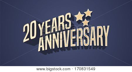 20 years anniversary vector icon, logo. Gold color graphic design element for 20th anniversary birthday card with stars and 3d lettering