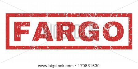 Fargo text rubber seal stamp watermark. Caption inside rectangular banner with grunge design and dust texture. Horizontal vector red ink sticker on a white background.