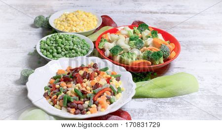 Frozen vegetables, quick-frozen vegetables in healthy diet (healthy eating)