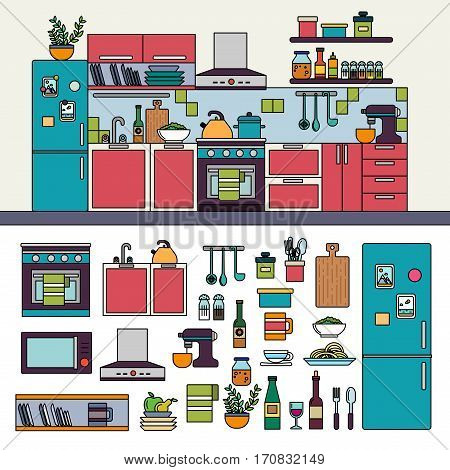 Thin line flat design of the kitchen with modern cooking equipment products on the shelves. Wooden texture cabinets and drawers with sink and faucet, fridge, gas stove