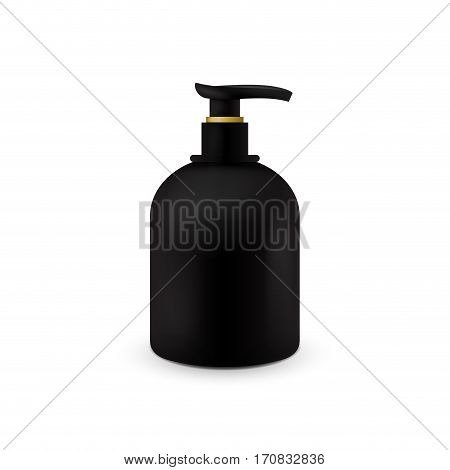 Jar with liquid soap for your logo and design is easy to change colors. Realistic black cosmetic container for soap cream, lotion. Mock up bottle