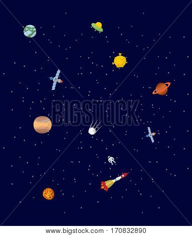 Space. Pplanets And Spaceships. Ufo And Astronaut. Stars On Cosmos. Astrology Infinity