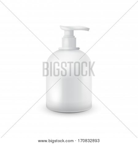 Jar with liquid soap for your logo and design is easy to change colors. Realistic white cosmetic container for soap cream, lotion. Mock up bottle