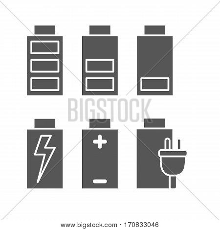 Battery. Set of icons indicating battery power for web and mobile application. Vector illustration on a white background. Flat design style.