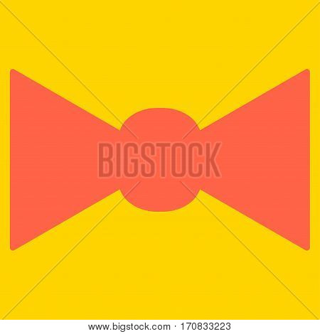 Bow Tie vector icon symbol. Flat pictogram designed with tomato red and isolated on a yellow background.