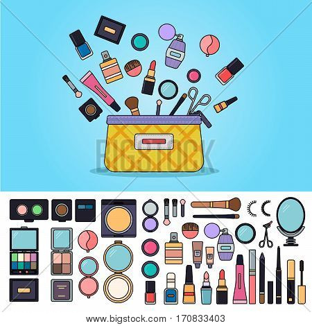 Cosmetics bag. Female bag with cosmetics tools over blue background. Beauty and health concept. Eyeshadows, brushes, creams, powder isolated on white background. Thin line flat design