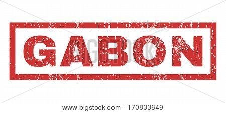 Gabon text rubber seal stamp watermark. Tag inside rectangular shape with grunge design and dust texture. Horizontal vector red ink sticker on a white background.