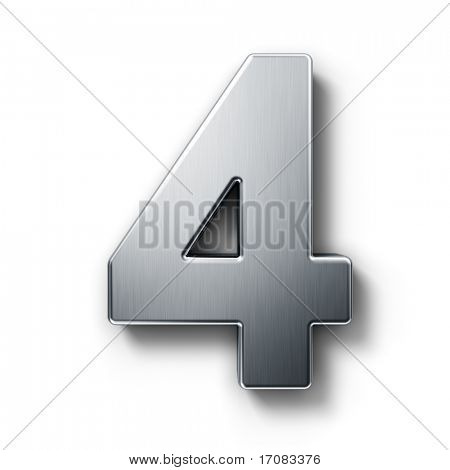 3d rendering of the number 4 in brushed metal on a white isolated background.