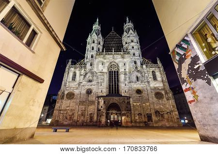 St. Stephens Cathedral in the night. Vienna Austria