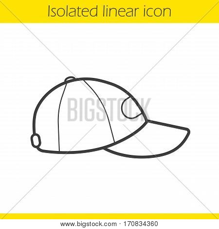 Baseball cap linear icon. Thin line illustration. Contour symbol. Vector isolated outline drawing