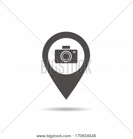 Sightseeing hotspot icon. Drop shadow silhouette symbol. Map pinpoint with photo camera. Vector isolated illustration