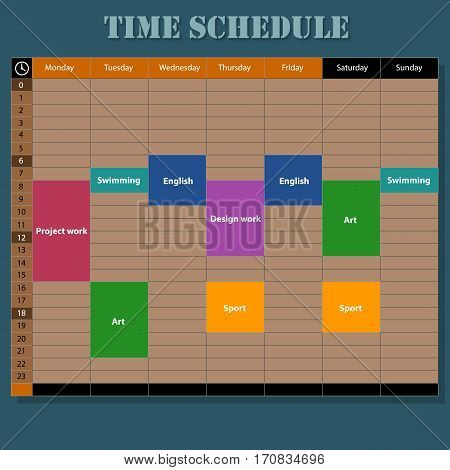 Week schedule illustration, wooden style. The illustration shows a template for a week planner.
