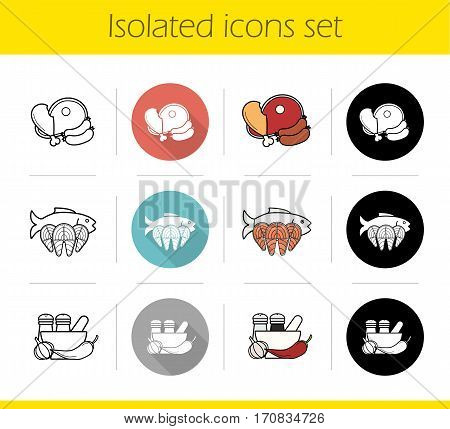 Food categories icons set. Flat design, linear, black and color styles. Grocery store products. Meat, seafood, spices. Isolated vector illustrations