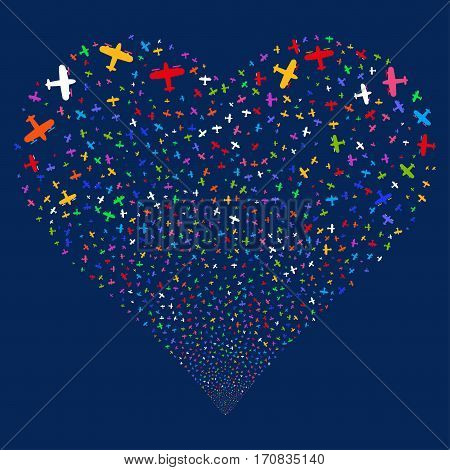 Aircraft fireworks with heart shape. Vector illustration style is flat bright multicolored iconic symbols on a blue background. Object heart constructed from random pictograms.