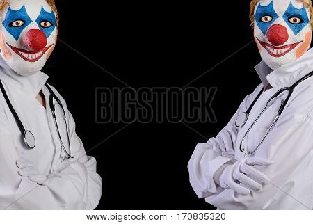 Do not diligent doctor in clown mask on a black background. Deception in the treatment of