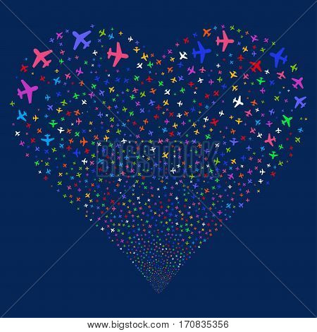 Airplane fireworks with heart shape. Vector illustration style is flat bright multicolored iconic symbols on a blue background. Object stream created from scattered symbols.