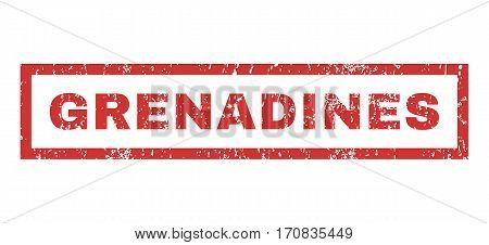 Grenadines text rubber seal stamp watermark. Tag inside rectangular shape with grunge design and dirty texture. Horizontal vector red ink sign on a white background.