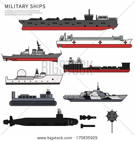 Military ships, navy ammunition, submarine, warship and battleship, float and cruiser, gunboat, trawler, frigate and ferry. War concept isolated on white background. Line flat design