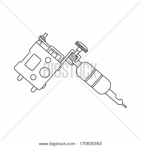 Tattoo machine linear drawing. Thin line illustration. Tattoo gun contour symbol. Vector isolated outline drawing