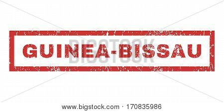 Guinea-Bissau text rubber seal stamp watermark. Tag inside rectangular shape with grunge design and dirty texture. Horizontal vector red ink sign on a white background.