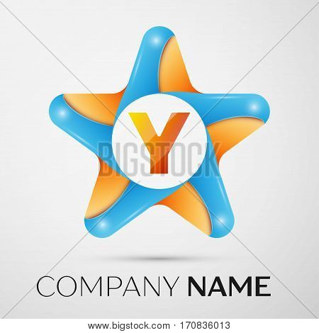 Letter Y vector logo symbol in the colorful star on grey background. Vector template for your design