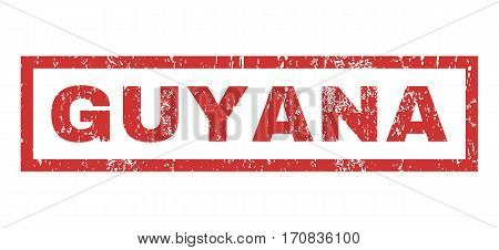 Guyana text rubber seal stamp watermark. Caption inside rectangular banner with grunge design and dirty texture. Horizontal vector red ink sign on a white background.
